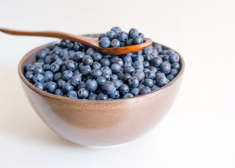 Fresh blueberries in a cup and wooden spoon on a white background closeup