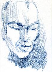 Pencil portrait of a man, pastel illustration on white paper