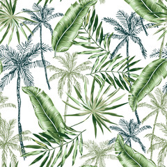 Green banana, palm trees, leaves with white background. Vector seamless pattern. Tropical jungle foliage illustration. Exotic plants greenery. Summer beach floral design. Paradise nature graphic