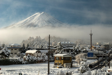 Mount Fuji from the village, Japan