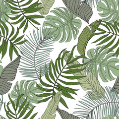 Green banana, monstera, palm leaves with white background. Vector seamless pattern. Tropical jungle foliage illustration. Exotic plants greenery. Summer beach floral design. Paradise nature graphic