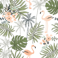 Blush flamingo, palm trees, leaves with white background. Vector seamless pattern. Tropical jungle foliage illustration. Exotic plants greenery. Summer beach floral design. Paradise nature graphic