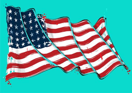 American 48 Star Artistic Brush Stroke Waving Flag