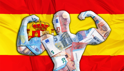 Abstract business background. Concept of powerful European EURO. Flag of Spain and bodybuilder shaped EUR currency. Financial concept about exchange rate of Spanish Euro currency.