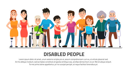 Help disabled person. Happy disability people, young student in wheelchair, handicapped boy with group of friends vector illustration