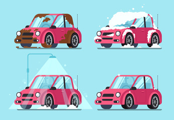 Washing dirty car. Steps of cleaning cars from muddy and dirt covered to clean and shiny vector illustration