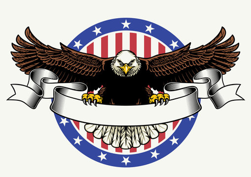 american bald eagle hold the blank ribbon for text