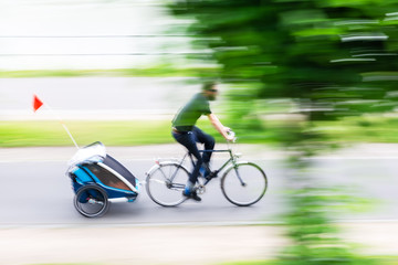 bicycle rider in motion blur