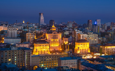 View to the center of Kiev at night