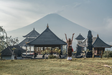Woman near Lempuyang temple in Bali, Indonesia.