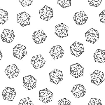 Seamless hand-drawn icosahedron print. Vector monochrome illustration on light background. Original sketched d20 pattern. ESP10.