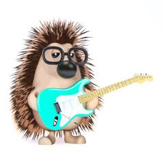 Vector 3d Hedgehog plays electric guitar