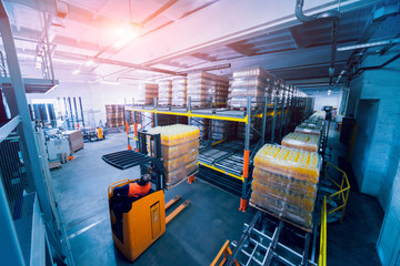 Warehouse at the beverages factory. Industrial background