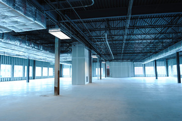 empty new factory building interior after construction