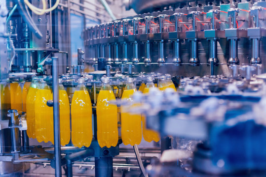 Automatic filling machine pours water into plastic PET bottles. Brewing production.