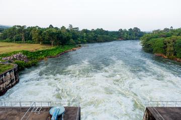 Drainage system, Dam water release at Ubonrattana dam, Khonkean Province, Thailand