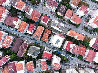 Aerial Drone View of Apartment Roof in the city Unplanned Urbanization Istanbul Kartal Yakacik