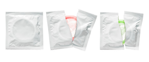 Condom pack isolated