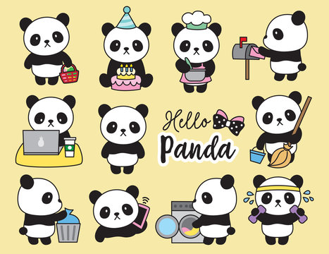 Vector illustration of cute panda planner activities including cooking, cleaning, working, doing laundry, working out, grocery shopping, etc.