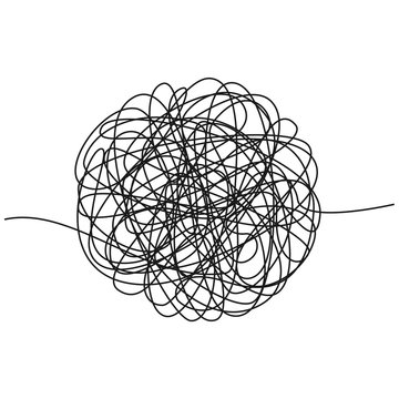 Hand drawn tangle of tangled thread. Sketch spherical abstract scribble shape. Chaotic black line doodle. Vector illustration isolated on white background