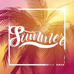 It's summer time background with palm and frame. Vector background for banner, poster, flyer, card, postcard, cover, brochure.