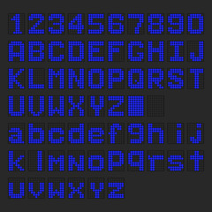 Blue LED digital english uppercase, lowercase font, number display on black background