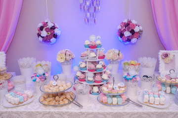 Delicious dessert bar at a wedding, party or event, exhibiting different tiered cake stands, filled with tasty pastel French macarons, bite size profiteroles and pink meringues, cake pops and cupcakes