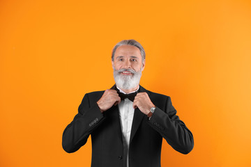Handsome bearded mature man in suit on color background