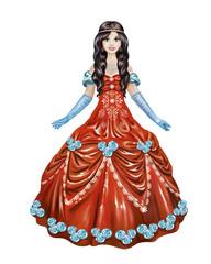 beautiful princess in red dress