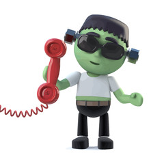Vector 3d Cute Halloween frankenstein monster answers the phone