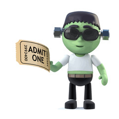 Vector 3d Funny Halloween Frankenstein monster character has a ticket to the show