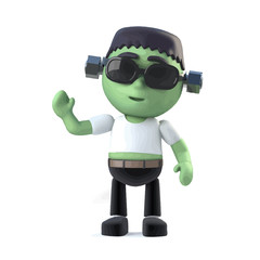 Vector 3d Child frankenstein monster waves hello