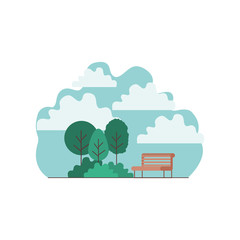 park with chairs scene vector illustration design