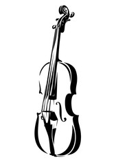 violin outline - black and white stringed musical instrument vector design