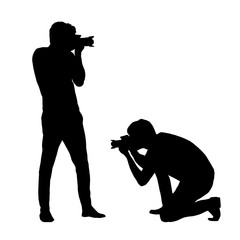 Set silhouettes man photographing with a camera isolated on white background