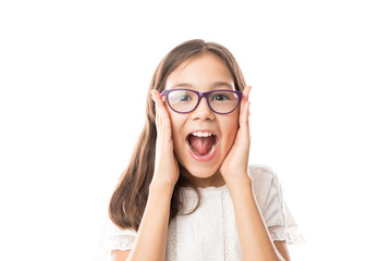 Beautiful woman with glasses excited