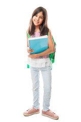 School girl child with backpack and books