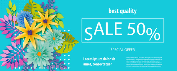 Horizontal paper cut tropical flower sale banner. Colored chamomile bud origami isolated vector background. Floral discount design. Craft 3d plant eco card template.