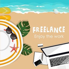 Freelance. Summer background work and relax on the sea. Sand beach. Laptop sunglasses hat notebook camera credit card. Flat vector illustration.