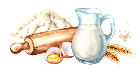Cookig set. Wooden rolling pin, bowl of flour, broken egg, ears of wheat and  jug of milk. Watercolor hand drawn illustration, isolated on white background