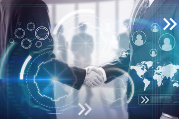 businessmen handshake and cyberspace
