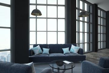 minimalistic furniture in loft room
