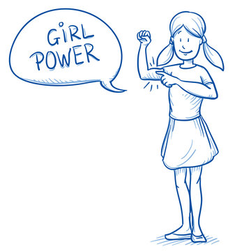 Happy young girl showing her biceps, arm, as symbol for girl power and confidence. Hand drawn cartoon doodle vector illustration.