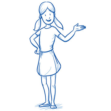 Happy young girl holding hand up / raised as if presenting something. Hand drawn cartoon doodle vector illustration.