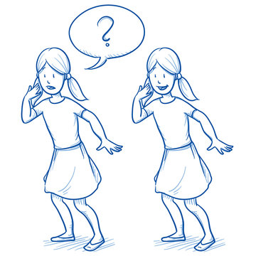Young girl in surprised position in two emotions with speech bubble. Hand drawn cartoon doodle vector illustration.