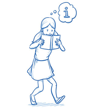 Happy young girl walking while reading an interesting book. Hand drawn cartoon doodle vector illustration.
