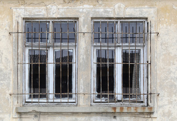 ISTANBUL - Sirkeci train station old warehouse wooden iron fingered window