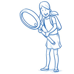 Happy young girl with school bag an magnifying glass looking for something. Hand drawn cartoon doodle vector illustration.