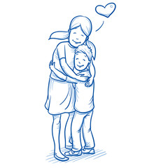 Happy young girl hugging her younger brother, love between brothers and sisters. Hand drawn cartoon doodle vector illustration.