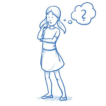 Young girl thinking about something, with question mark in a thought bubble. Hand drawn cartoon doodle vector illustration.